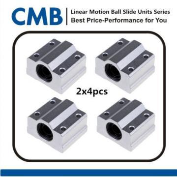 8pcs SC8UU SCS8UU Linear Motion Ball Bearing Slide Unites Bushing ID 8mm Tested