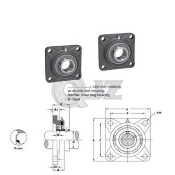2x 7/8 in Square Flange Units Cast Iron SBF205-14 Mounted Bearing SB204-12G+F205
