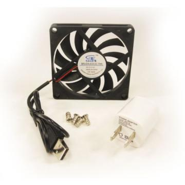 New 80mm 10mm Case Fan Kit 120VAC 17CFM USB A Adapter Cooling 8010 Sleeve 1438*